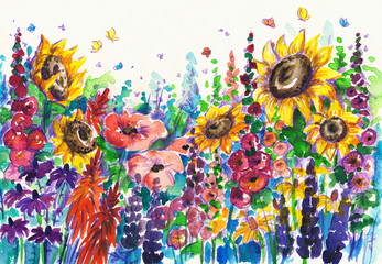 Summer flowers in garden