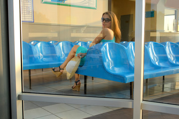 attractive girl waiting somebody