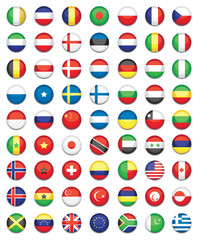 large set of colourful flat world flag icons
