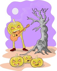 pumpkins playing guitar