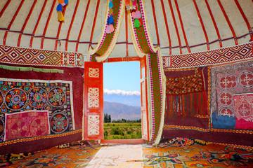 Printed roller blinds Magenta Kazakh nomads dwelling