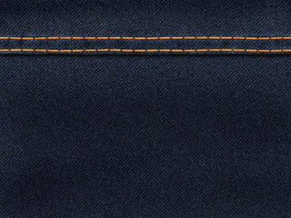 Blue jeans with yellow stitches background