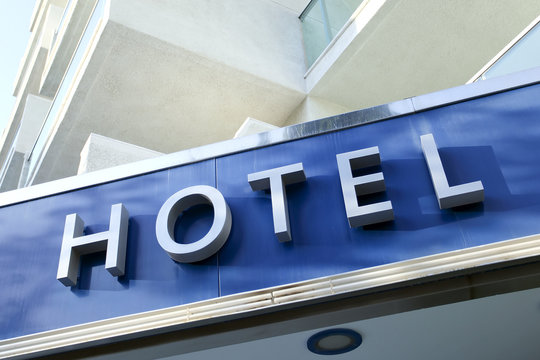 Light blue facade of modern new hotel