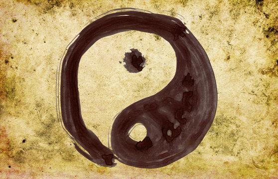 yin yang - hand painted on background grunge