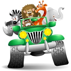 Foto auf Acrylglas Zoo Geep con Animali Selvaggi Cartoon-Savannah Wild Animals On Jeep