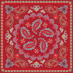 Traditional Paisley Bandana Design