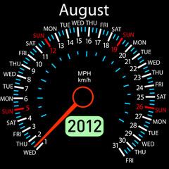 2012 year ñalendar speedometer car in vector. August.