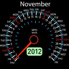 2012 year ñalendar speedometer car in vector. November.