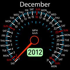 2012 year ñalendar speedometer car in vector. December.