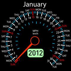 2012 year ñalendar speedometer car in vector. January.