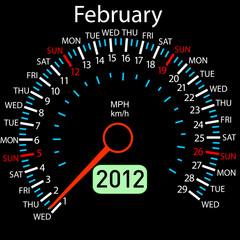 2012 year ñalendar speedometer car in vector. February.