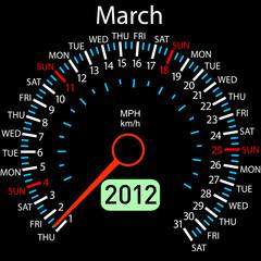 2012 year ñalendar speedometer car in vector. March.