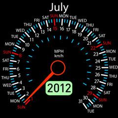 2012 year ñalendar speedometer car in vector. July.