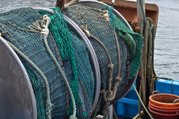 Fishing nets on atlantic trawler
