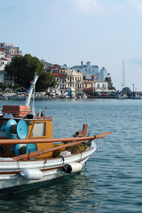 Church view from a boat at Skopelos island in Greece