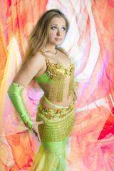 caucasian belly dancer posing