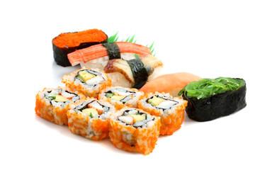 Mix sushi isolated in white background