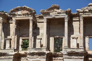 Details of the Library of Celsus in Ephesus, Turkey