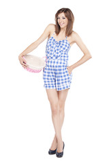Girl holding a pink basket on white background