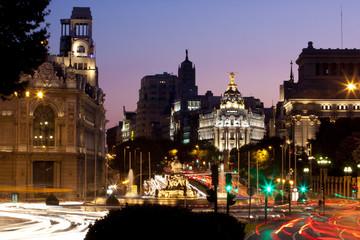 Night view of Plaza de Cibeles in Madrid