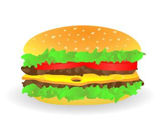 Big Hamburger. Vector.