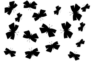 Butterflies silhouette on white