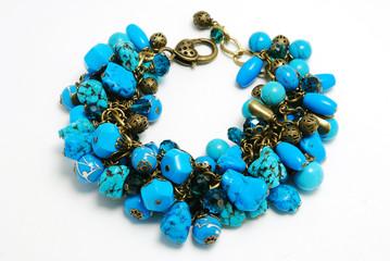 Blue bracelet with lampwork