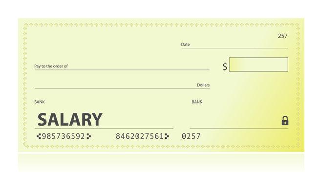 Salary check illustration design over white