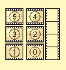 Old film strip countdown