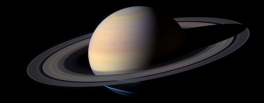 Planete Saturne Fond Noir - Saturn Planet Black Background