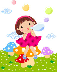 A little girl blowing bubble