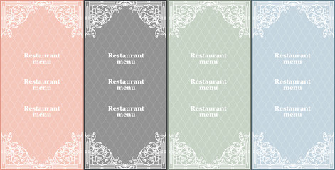 vector set of restaurant menu cards