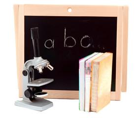 blackboard with books