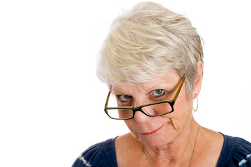 mature woman showing disappointment