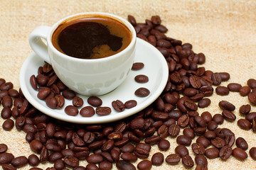 Coffee Cup and  Brown Beans - Background