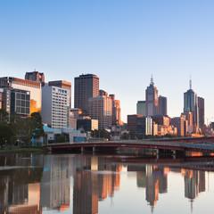 Melbourne skyline looking towards King Street Bridge