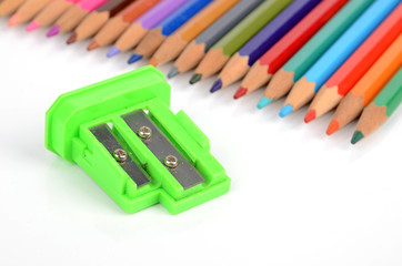 Color pencils and sharpener