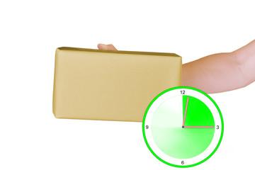 Paket mit Uhr