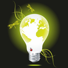 Bulb as the green globe with a grass and dragonflies.