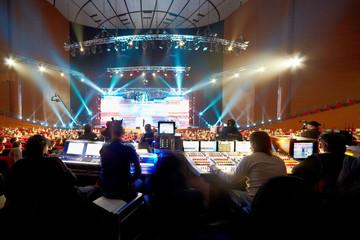 Operators at control panels at concert