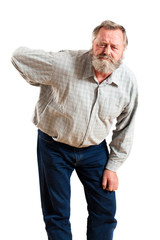 älterer Mann mit Rückenproblemen