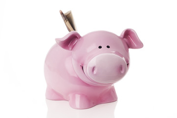 Money pig with money in it