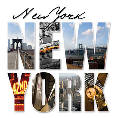 Tuinposter New York TAXI NYC New York City Graphic Montage