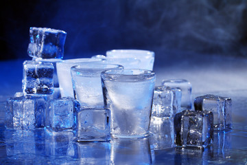 Frozen glasses with cold alochol drink