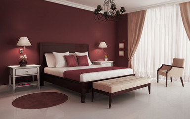 Classic, red, luxury bedroom, with chandelier and sofa