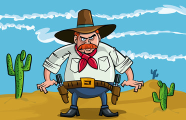 Printed roller blinds Wild West Fat cartoon cowboy ready to draw