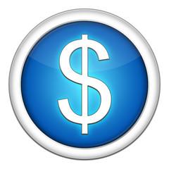 Icone Blanc Bleu Dollar