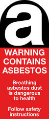 Warning contains asbestos sign label symbol