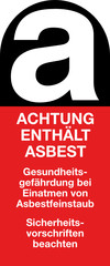 Achtung enthält Asbest Gefahrstoff  Aufkleber Kennzeichnung