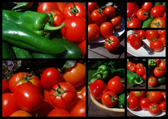 """""""Tomatoes Galore"""" Collage (peppers sun-ripened red courgette)"""